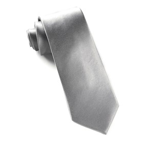 Silver Solid Satin ties