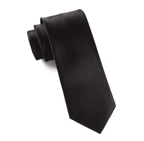 Black Solid Satin ties