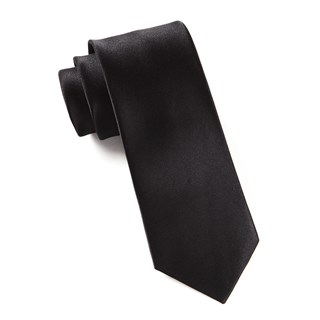 solid satin black boys ties