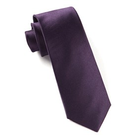 Solid Satin Eggplant Ties