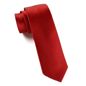 solid satin red ties
