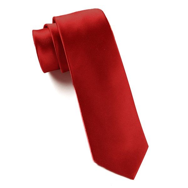 Red Solid Satin Tie