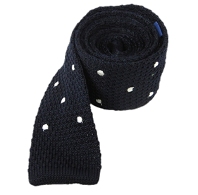 Midnight Navy Knit Polkas ties