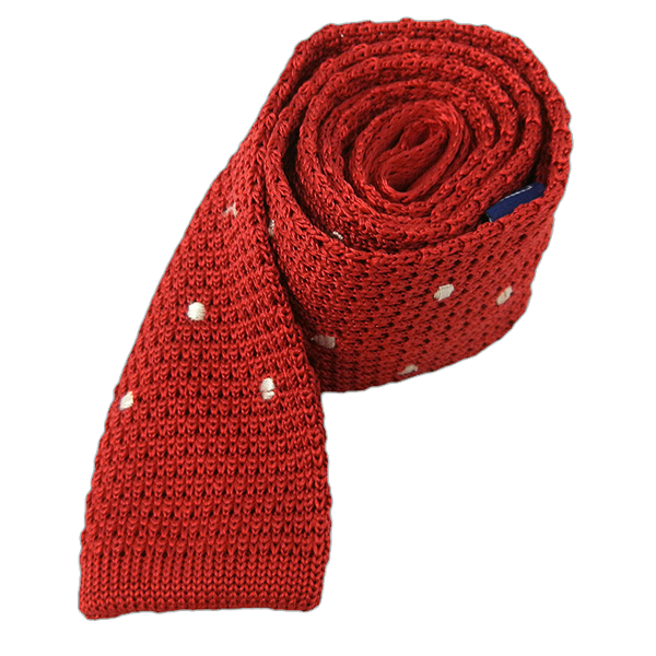 Apple Red Knit Polkas Tie