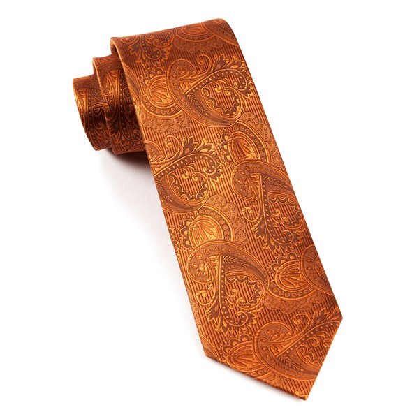 Burnt Orange Twill Paisley Tie