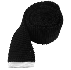 Tipped Knit Black Ties