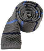 Ties - Knit Alt Stripe - Metallic Grey