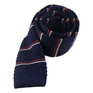 knarrow knit stripe navy ties