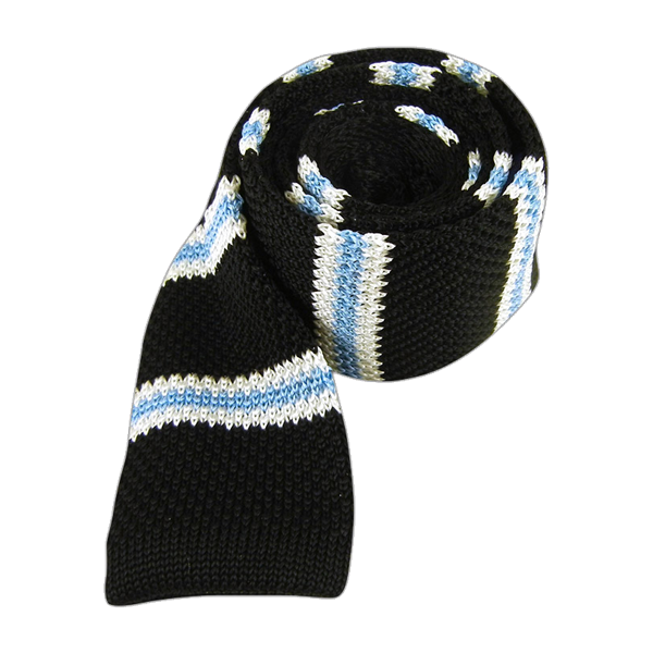 Black Knit Country Stripe Tie