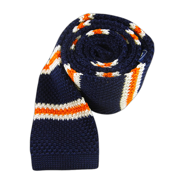 Navy Knit Country Stripe Tie
