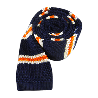 knit country stripe navy ties