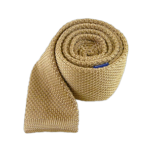 knitted light champagne ties