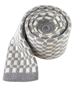 Ties - Knit Squares - Silver