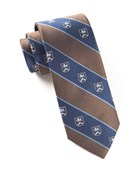 Ties - Prep Crest Stripes - Brown
