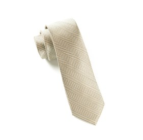Light Champagne Native Herringbone ties