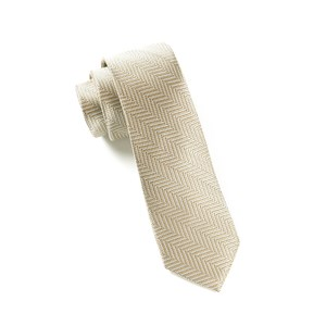 native herringbone light champagne ties
