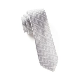 Native Herringbone Silver Ties