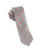 Ties - Gingham Flowers - Charcoal