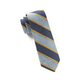 Linen Bold Stripe Baby Blue Ties