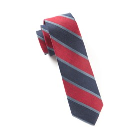 Red Linen Bold Stripe ties