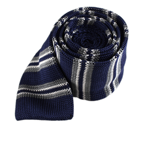 Crew Knit Stripe Navy Ties