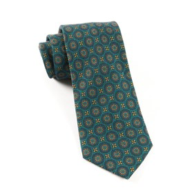 Green Teal Era Medallions ties