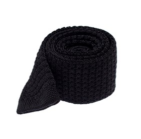 Black Textured Solid Knit ties