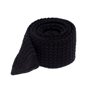 textured solid knit black ties