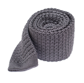 Grey Textured Solid Knit ties