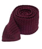 Ties - Textured Solid Knit - Deep Burgundy