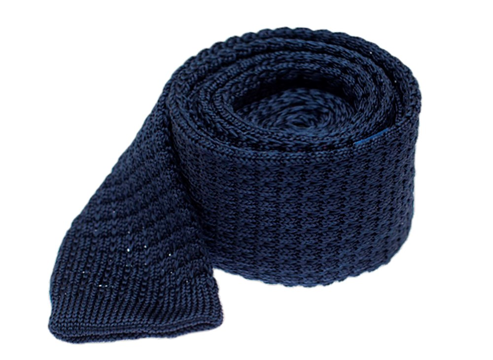 """Textured Solid Knit - Navy - 2"""" X 58"""" - Ties"""