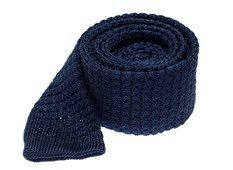 "Textured Solid Knit - Navy - 2"" x 58"" - Ties"