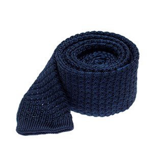 Textured Solid Knit Navy Tie