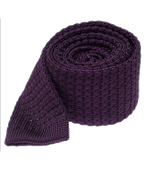 Ties - Textured Solid Knit - Eggplant