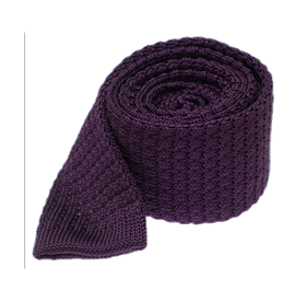 Textured Solid Knit Eggplant Ties