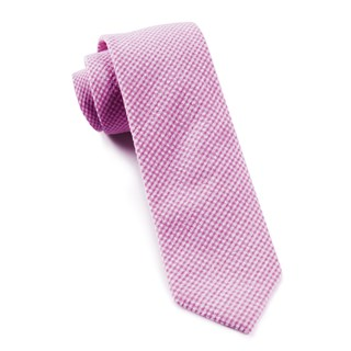 New Seersucker Gingham Pink Tie