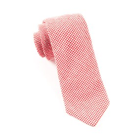 New Seersucker Gingham Red Ties