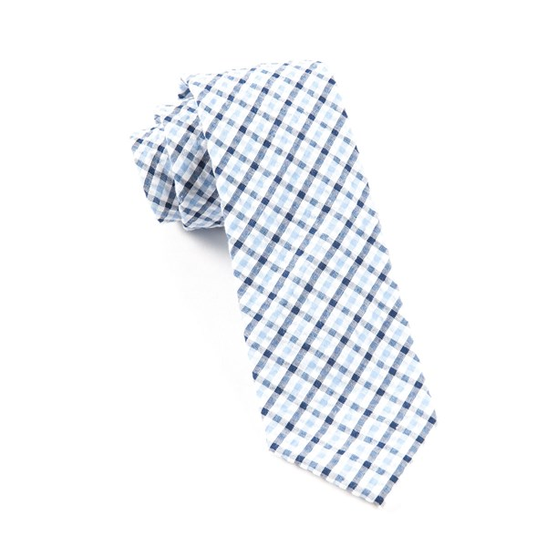 Light Blue Montauk Seersucker Gingham Tie