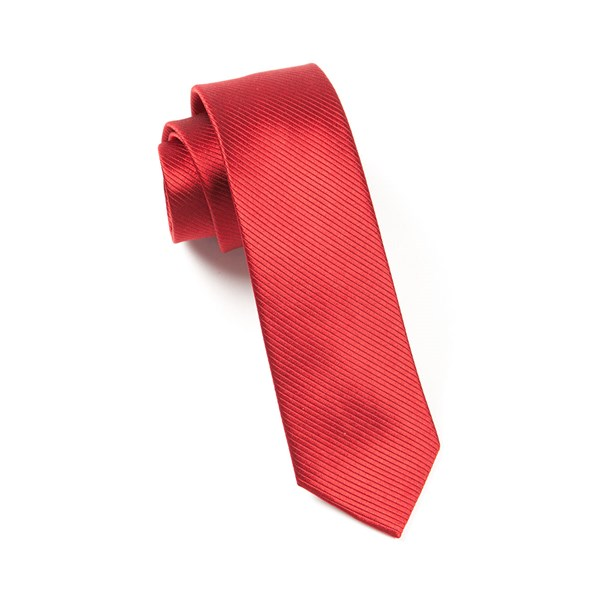 Red Skinny Solid Tie