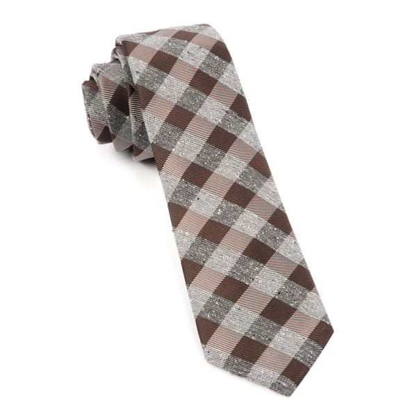 Brown Splattered Gingham Tie