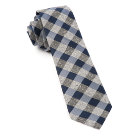 Navy Splattered Gingham ties