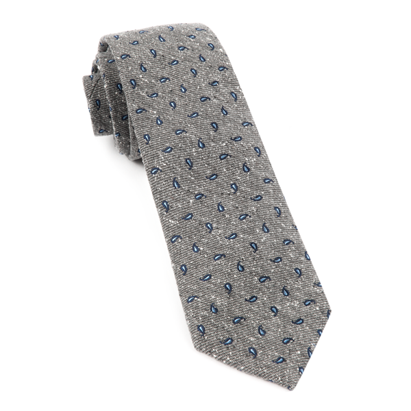Grey Paisley Timber Tie