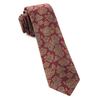 intellect floral burgundy ties