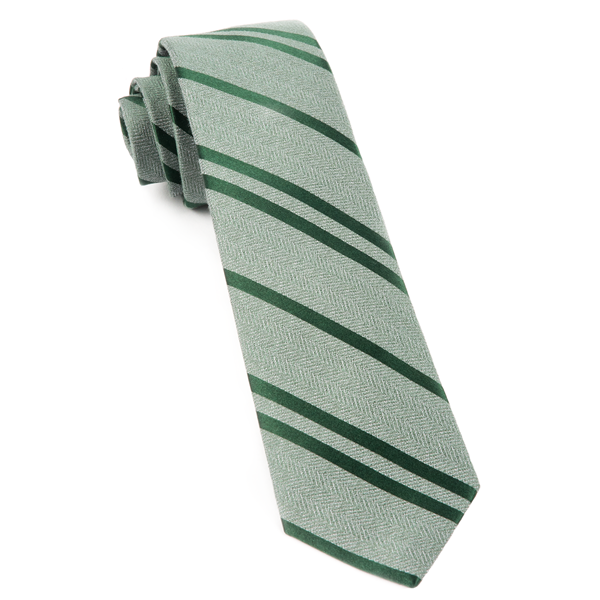 Moss Green Wool Path Stripe Tie