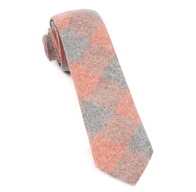 Printed Flannel Checks Orange Ties