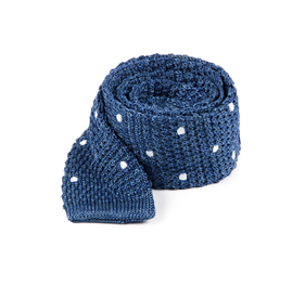 Blue Scramble Knit Polkas ties