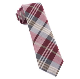 Burgundy Crystal Wave Plaid ties