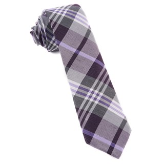 Crystal Wave Plaid Eggplant Tie