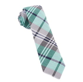 Mint Crystal Wave Plaid ties