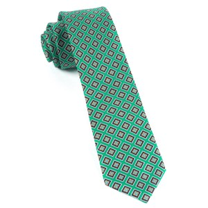 silk squarework green ties